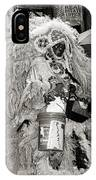 Mardi Gras Indian In Pirates Alley In Black And White IPhone Case