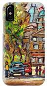 Mcgill Gates  Entrance Of Mcgill University Montreal Quebec Original Oil Painting Carole Spandau IPhone Case