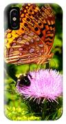 Meadow Fritillary On Thistle Blossom IPhone Case