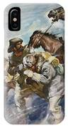 Men And Horses Battling A Storm IPhone Case