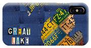 Michigan License Plate Map Great Lake State With Vintage Blue Plate Background Edition IPhone Case