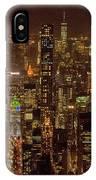 Midtown Manhattan Skyline Aerial At Night IPhone Case