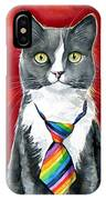 Mika - Gray Tuxedo Cat Painting IPhone Case