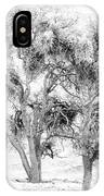 Mistletoe Tree In Black And  White IPhone Case