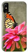 Monarch Butterfly And Pink Zinnia IPhone Case