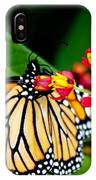Monarch Butterfly At Lunch With 2 Box Elder Bugs IPhone Case