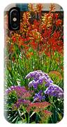 Yellow-orange Kangaroo Paws And Sea Lavender By Napier At Pilgrim Place In Claremont-california IPhone Case