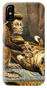 Monkey Physician Examining Cat For Fleas IPhone Case