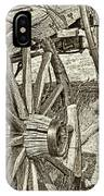 Montana Old Wagon Wheels In Sepia IPhone Case