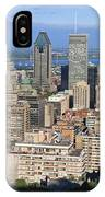 Montreal City Panorama From Mount Royal Quebec Canada IPhone Case
