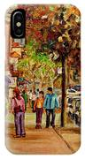 Montreal Downtown  Crescent Street Couples Walking Near Cafes And Rstaurants City Scenes Art    IPhone Case