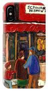 Montreal Hebrew Delicatessen Schwartzs By Montreal Streetscene Artist Carole Spandau IPhone Case