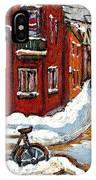Montreal Street In Winter La Ville En Hiver Buy Montreal Paintings Petits Formats Peintures A Vendre IPhone Case