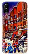 Montreal Street Scene Paintings Hockey On De Bullion Street   IPhone Case