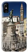 Monument And Statue Of Giuseppe Tartini At Tartini Square Piran  IPhone Case