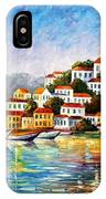 Morning Harbor - Palette Knife Oil Painting On Canvas By Leonid Afremov IPhone Case