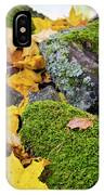 Mossy Stones And Maple Leaves IPhone Case