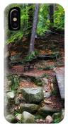 Mountain Trail With Staircase In Autumn Forest IPhone Case