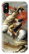 Napoleon Crossing The Alps, Jacques Louis David, From The Original Version Of This Painting  IPhone Case