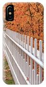 New England White Picket Fence With Fall Foliage IPhone Case