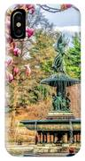 New York City Central Park Bethesda Fountain Blossoms IPhone Case