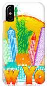 New York City Colorful Skyline In Circle Impressionist Illustrat IPhone Case