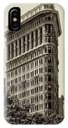 New York City - Flatiron In Sepia IPhone Case