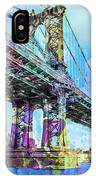 New York City Manhattan Bridge Blue IPhone Case