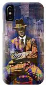 New York Man Seated City Background 1 IPhone Case