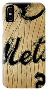 New York Mets 21 Red And Blue Vintage Cards On Brown Background IPhone Case