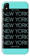 New York - Pale Blue On Black Background IPhone Case