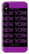 New York - Pink On Black Background IPhone Case
