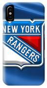 New York Rangers - 3d Badge Over Flag IPhone Case