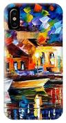 Night Riverfront - Palette Knife Oil Painting On Canvas By Leonid Afremov IPhone Case
