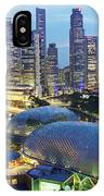 Night View Of The Esplanade And Central IPhone Case