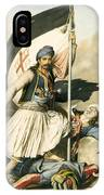Nikolakis Mitropoulos Raises The Flag With The Cross At Salona On Easter Day 1821 IPhone Case