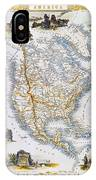North American Map, 1851 IPhone Case