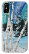 Northern Lights  And White Birch Trees IPhone Case