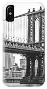 Nyc Manhattan Bridge In Black And White IPhone Case