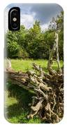 Old Cut Tree On A Meadow IPhone Case