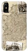 Vintage Map Of Ireland With Old Irish Woodcuts IPhone Case