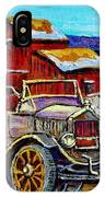 Old Model T Car Red Barns Canadian Winter Landscapes Outdoor Hockey Rink Paintings Carole Spandau IPhone Case