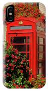 Old Red Telephone Box Or Booth Surrounded By Red Flowers In Toro IPhone Case