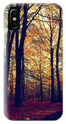 Old Tree Silhouette In Fall Woods IPhone Case