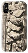 Old Wood Door Window And Stone In Sepia Black And White IPhone Case