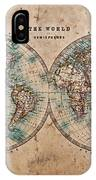 Old World Map In Hemispheres IPhone Case