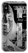 One Hundred Us Dollar Bill - $100 Usd In Silver On Black IPhone Case