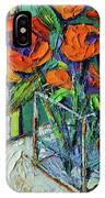 Orange Bloom - Textured Impressionist Palette Knife Oil Painting Mona Edulesco IPhone Case