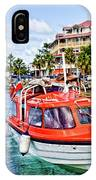 Orange Lifeboats Across Colorful Bay IPhone Case
