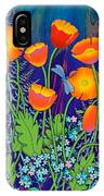 Orange Poppies And Forget Me Nots IPhone Case